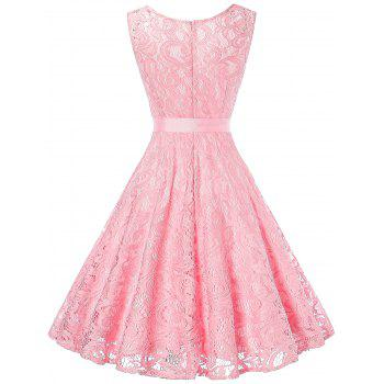 V Neck Sleeveless Lace 50s Swing Dress - PINK M