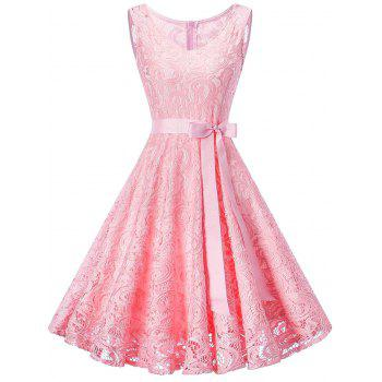 V Neck Sleeveless Lace 50s Swing Dress - PINK PINK