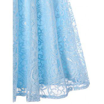 Sleeveless Lace 50s Swing Dress - LIGHT BLUE L