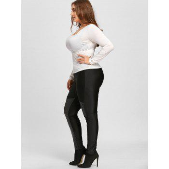 Faux Leather Trim Plus Size Leggings - BLACK BLACK