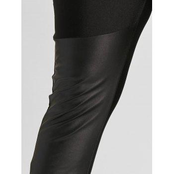 Faux Leather Trim Plus Size Leggings - BLACK 4XL