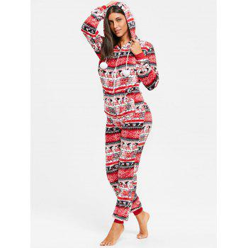 Hooded Christmas Zip Jumpsuit Sleepwear - RED S