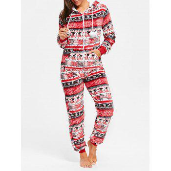 Hooded Christmas Zip Jumpsuit Sleepwear