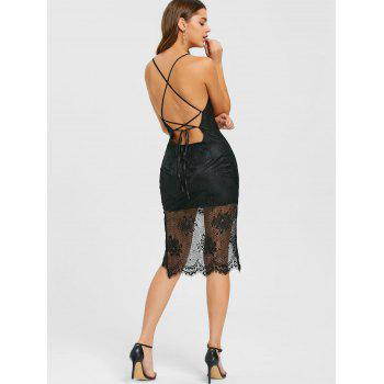 Lace Scalloped Edge Strappy Dress - BLACK BLACK