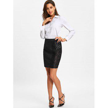 Slim Fit Lace Trim Skirt - BLACK 2XL