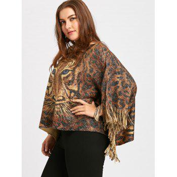 Plus Size Glitter Tiger Printed  Fringed Poncho Sweater - LIGHT BROWN LIGHT BROWN