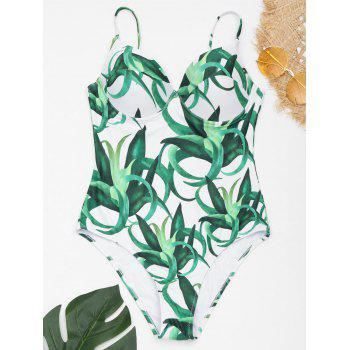 Underwire Spaghetti Strap Printed Swimsuit - WHITE AND GREEN WHITE/GREEN