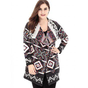 Plus Size Lapel Geometric Sweater Cardigan - COLORMIX ONE SIZE