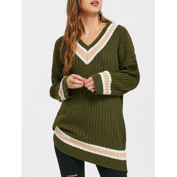 Ribbed V Neck Tunic Sweater
