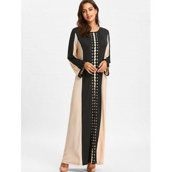 Color Block Lace Insert Maxi Arabic Dress - BLACK L