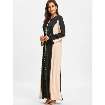 Color Block Lace Insert Maxi Arabic Dress - BLACK BLACK