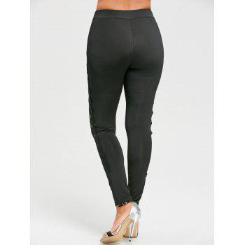 Sheer Mesh Panel Tight Leggings - BLACK XL
