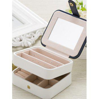 Two Layers Jewelry Case and Display Organize Storage Box -  WHITE