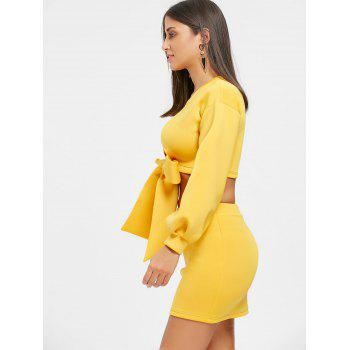 Cropped Long Sleeve Top and Mini Skirt - YELLOW YELLOW