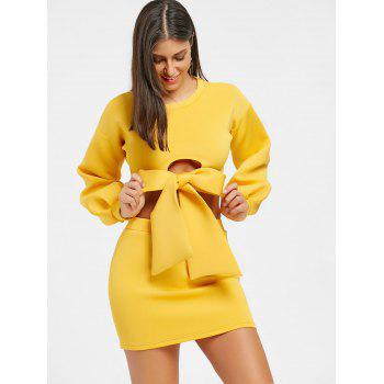 Cropped Long Sleeve Top and Mini Skirt - YELLOW S