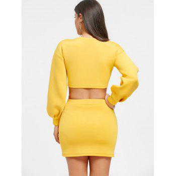 Cropped Long Sleeve Top and Mini Skirt - YELLOW M