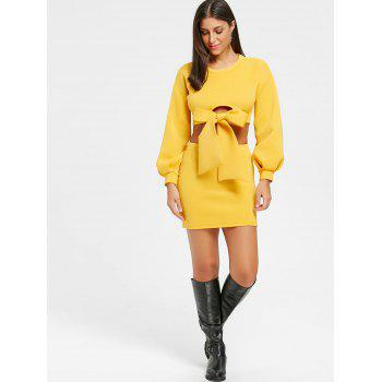 Cropped Long Sleeve Top and Mini Skirt - YELLOW L