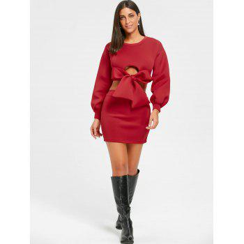 Cropped Long Sleeve Top and Mini Skirt - RED L