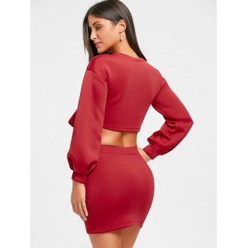 Cropped Long Sleeve Top and Mini Skirt - RED M