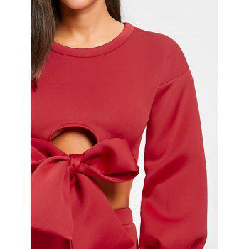 Cropped Long Sleeve Top and Mini Skirt - RED RED