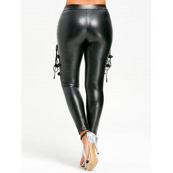 Fishnet Trim Lace Up PU Leather Pants - BLACK 2XL
