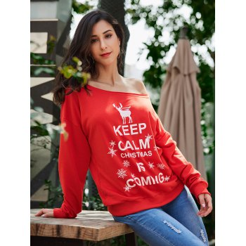 Keep Calm Skew Neck Sweatshirt de Noël - Rouge 2XL