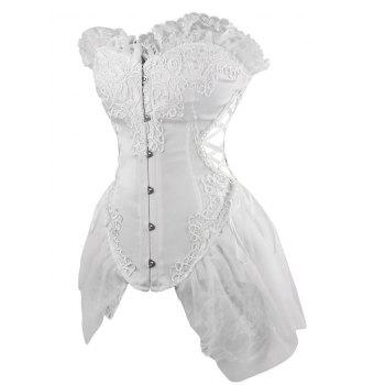 Lace Asymmetric Waist Training Corset - WHITE 2XL