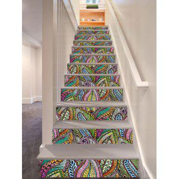 Bohemian Colorful Plant Printed DIY Decorative Stair Stickers - COLORFUL 100*18CM*6PCS
