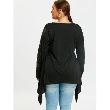 Plus Size Criss Cross Long Sleeve Sharkbite T-shirt - BLACK XL