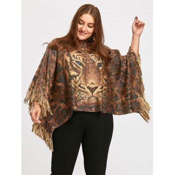 Plus Size Glitter Tiger Printed  Fringed Poncho Sweater - LIGHT BROWN ONE SIZE