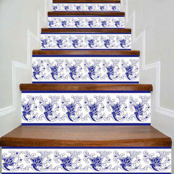 Flower Print DIY Home Decorative Stair Stickers - BLUE AND WHITE BLUE/WHITE