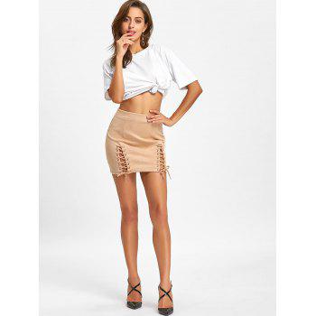 Faux Suede Lace Up Mini Skirt - APRICOT L