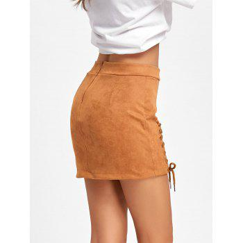 Faux Suede Lace Up Mini Skirt - BROWN BROWN