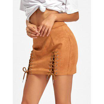 Faux Suede Lace Up Mini Skirt - BROWN L