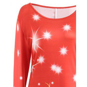 Christmas Plus Size Printed Long Sleeve T-shirt Dress - RED 5XL