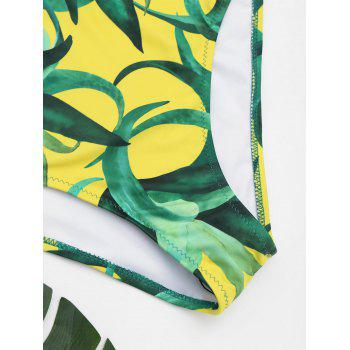 One Piece Open Back Printed Swimwear - YELLOW M