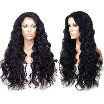 Long Side Parting Bouffant Body Wave Synthetic Wig - NATURAL BLACK NATURAL BLACK