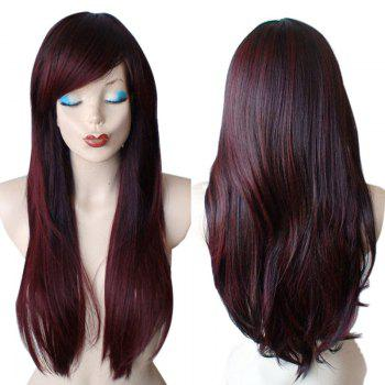 Long Inclined Fringe Colormix Straight Synthetic Wig - WINE RED WINE RED