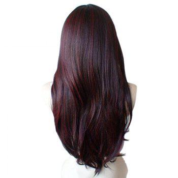 Long Inclined Fringe Colormix Straight Synthetic Wig - WINE RED