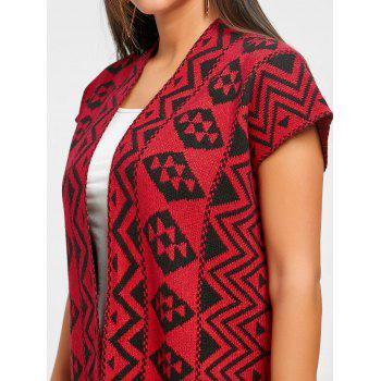 Side Slit Open Front Tribal Cardigan - RED ONE SIZE