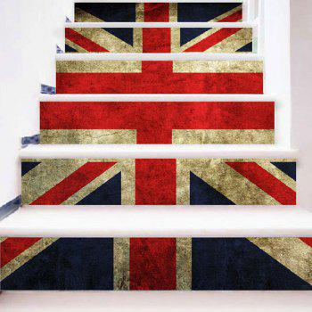 Patriotic Union Flag Print DIY Decorative Stair Stickers - UK FLAG 100*18CM*6PCS