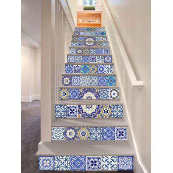 Geometric Floral Printed DIY Decorative Stair Stickers - COLORMIX 100*18CM*6PCS