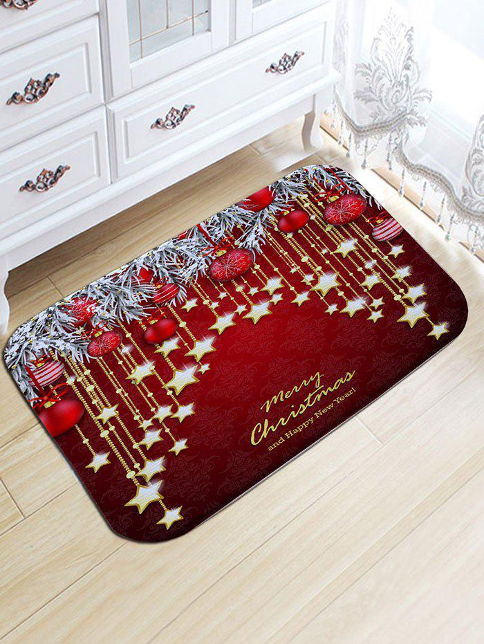 Christmas Hanging Ball Star Print Flannel Nonslip Bath Mat - DARK RED W20 INCH * L31.5 INCH