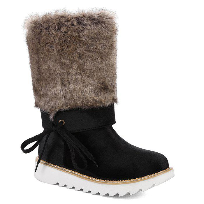 Stitching Faux Fur Mid Calf Boots faux leather side zipper mid calf boots