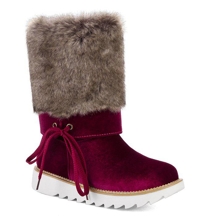 Outlet Huge Surprise Furry Mid Calf Boots - WINE RED Buy Online Outlet Best Buy rluQcHoRzU