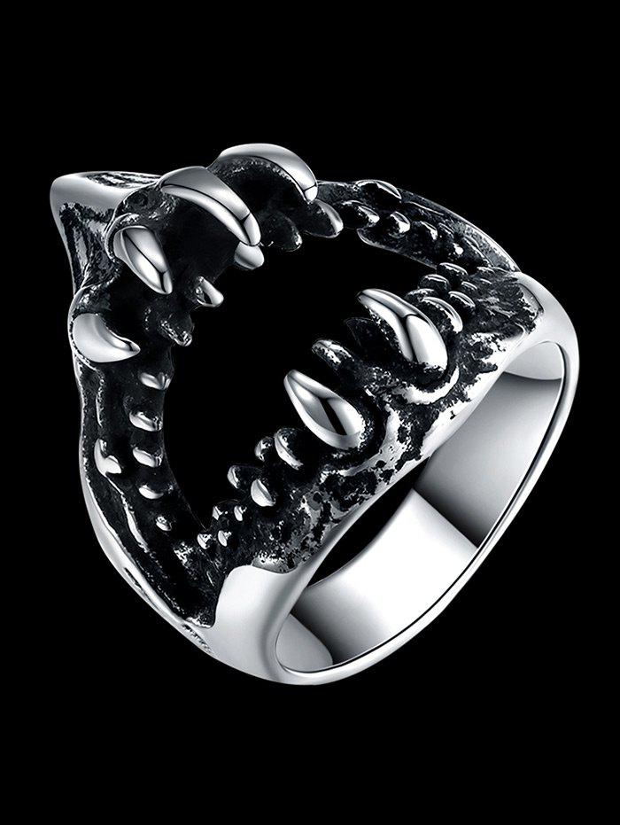 Gothic Style Teeth Decorated Stainless Steel Biker Ring - SILVER 11
