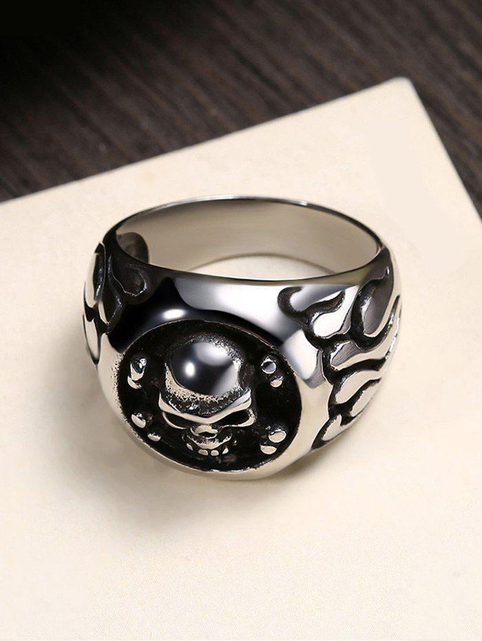 Gothic Style Round Shape Skull Pattern Stainless Steel Ring - BLACK 12
