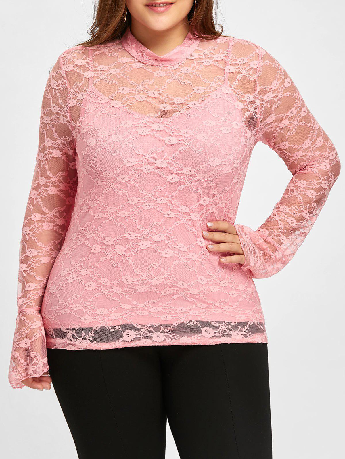 Plus Size Lace Blouse with Tank Top plus size printed sheer lace blouse with cami top