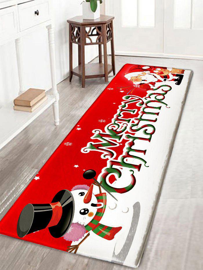 Christmas Snowman and Santa Claus Print Nonslip Flannel Bath Mat