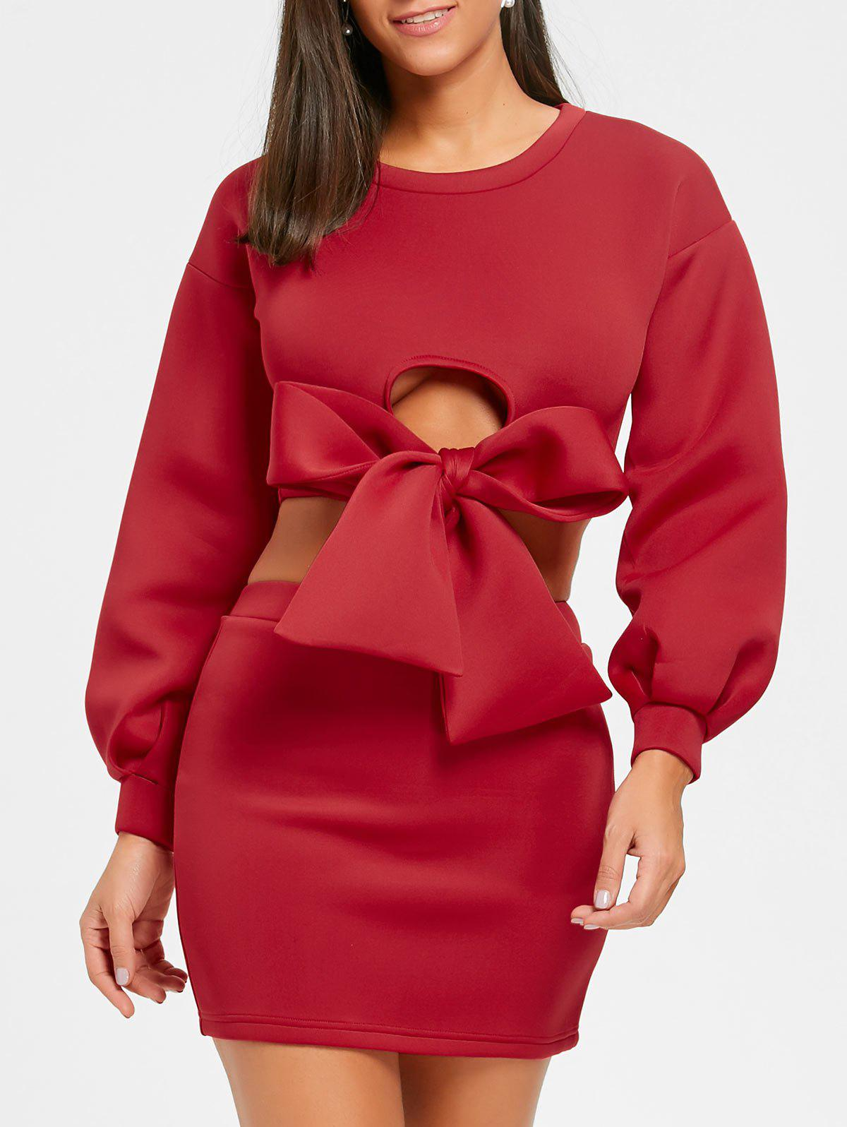 Cropped Long Sleeve Top and Mini Skirt - RED S